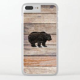Rustic Bear Silhouette on Wood Country Art A231a Clear iPhone Case