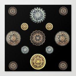 Four Different Metallic Mandalas on Black Background Textile Canvas Print