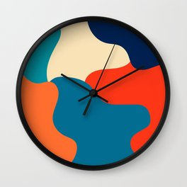 Retro color palette abstract minimalist abstract art Wall Clock