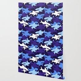 Blue Sharks Camouflage Pattern Wallpaper