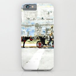 Roma: horse-drawn carriages stopped under the altar of the fatherland iPhone Case