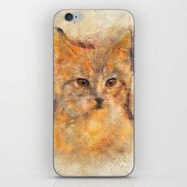 Ginger cat art iPhone Skin