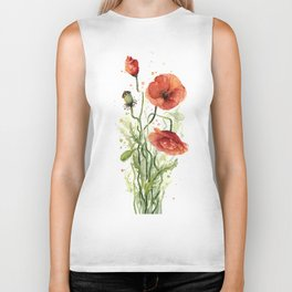 Red Poppies Watercolor Biker Tank