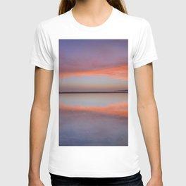 Panoramic sea. Purple sunset at the beach. Tarifa beach T-shirt