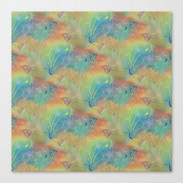 Rainbow Sparkles Leaves Flowers Canvas Print