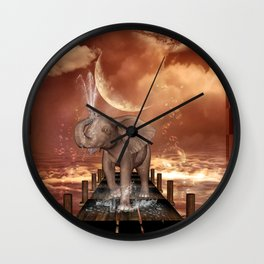 Cute baby elephant Wall Clock