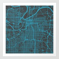 kansas city Art Prints featuring Kansas City Blue by Map Map Maps