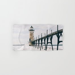 Manistee Lighthouse In Winter Hand & Bath Towel