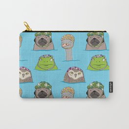 Grumpy animals in vintage swim caps Carry-All Pouch
