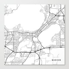 Madison Map, USA - Black and White Canvas Print