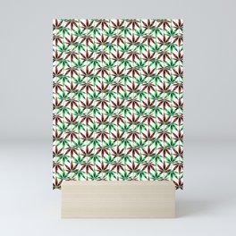 WEED LOVE, BURGUNDY RED GREEN Cannabis Smoke Marijuana Mini Art Print