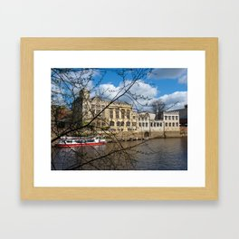 York Guildhall with river boat Framed Art Print