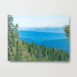 Artistic Brush // Grainy Scenic View of Rolling Hills Mountains Forest Landscape Photography Metal Print