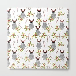 Christmas Penguin Pattern White Metal Print