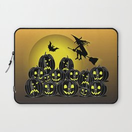 Pumpkins and witch in front of a full moon Laptop Sleeve