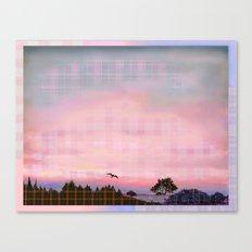 Plaid Landscape Tranquil Sunset Canvas Print