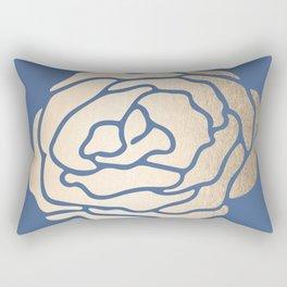 Rose White Gold Sands on Aegean Blue Rectangular Pillow