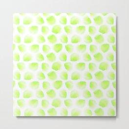 Lemon Lime Watercolor Polka Dot Metal Print