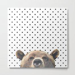 Bear - Black Dots Metal Print