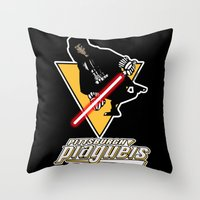 pittsburgh Throw Pillows featuring Pittsburgh Plagueis by Ant Atomic