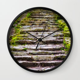 Stone Stairway in the Forest Wall Clock