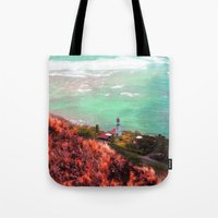lighthouse Tote Bags featuring Lighthouse by Kakel-photography