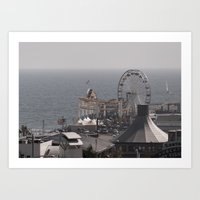 santa monica Art Prints featuring Santa Monica by cbrocoff