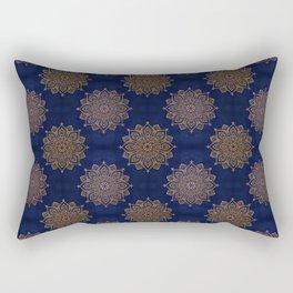 N253 - Indigo Royal Blue Heritage Oriental Moroccan Golden Floral Artwork Rectangular Pillow