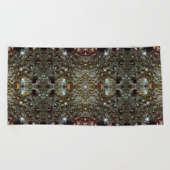 Abstract brown, dark gray texture pattern Beach Towel