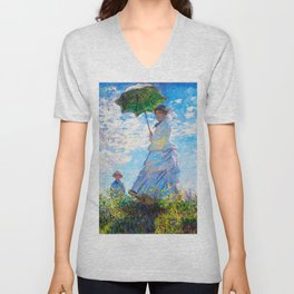 Woman with a Parasol by Claude Monet Unisex V-Neck
