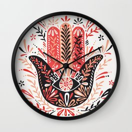 Hamsa Hand – Red & Black Palette Wall Clock