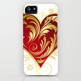 Red And Gold Filigree Love Heart  iPhone Case