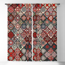(N19) Colored Floral Moroccan Traditional Bohemian Artwork Blackout Curtain
