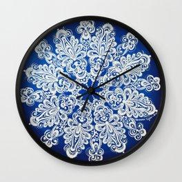 White snowflake in Petrykivka style Wall Clock