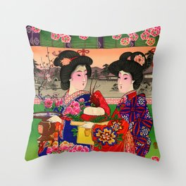 Two Geishas Throw Pillow