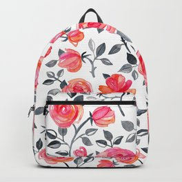Roses on White - a watercolor floral pattern Backpack