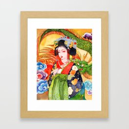 Watercolor Japanese Beauty - Oiran Framed Art Print