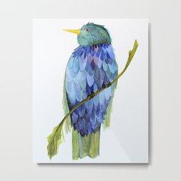 Blue Bird Watercolor Illustration Metal Print