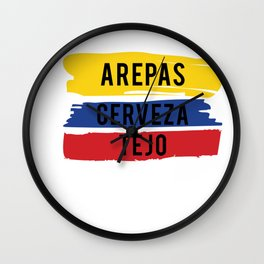 Funny Tejo print Gift Arepas Cerveza Tejo Colombia flag product Wall Clock