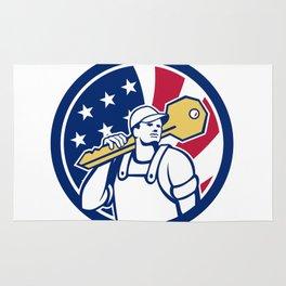 American Locksmith USA Flag Icon Rug