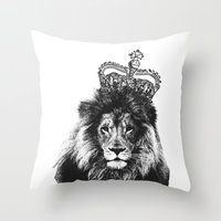 the lion king Throw Pillows featuring Lion King by MaNia Creations