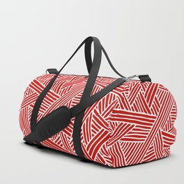 Abstract Navy Red & White Lines and Triangles Pattern Duffle Bag