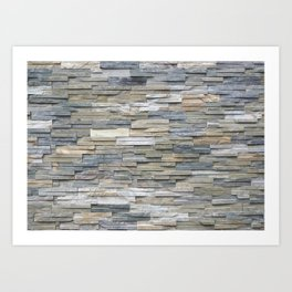 Gray Slate Stone Brick Texture Faux Wall Art Print