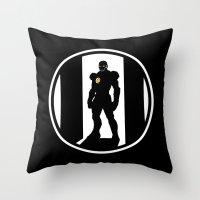 avenger Throw Pillows featuring Golden Avenger by Comix