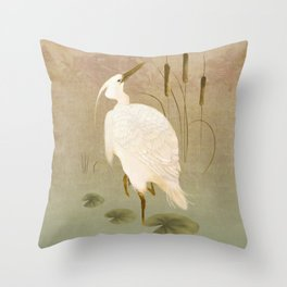 White Heron in Bulrushes Throw Pillow