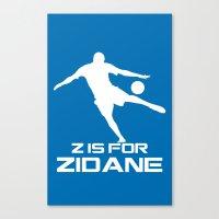 zidane Canvas Prints featuring Zidane Blue by Sport_Designs