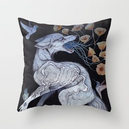 Fox & Poppies Throw Pillow