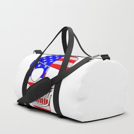 Old Glory Skull Silhouette With Eye Patch Duffle Bag
