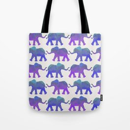 Follow The Leader - Painted Elephants in Royal Blue, Purple, & Mint Tote Bag