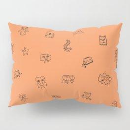 Orange Monster Pattern Pillow Sham